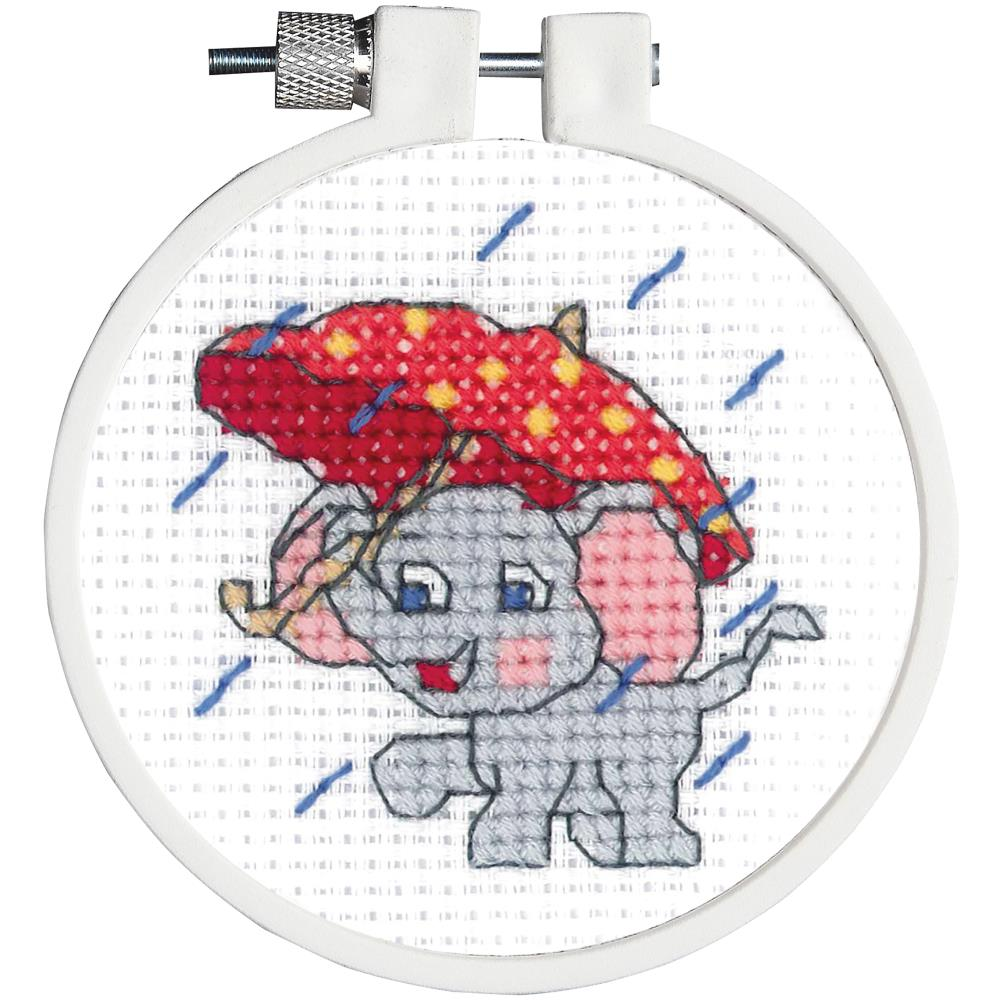 click here to view larger image of Kid Stitch - Rainy Day Elephant (counted cross stitch kit)