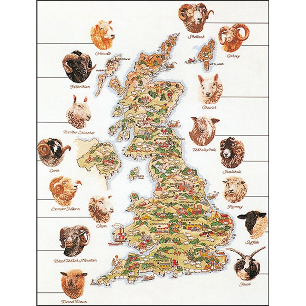 click here to view larger image of Sheep Map Of Great Britain (Aida) (counted cross stitch kit)
