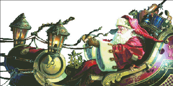 click here to view larger image of Father Christmas Sleigh Ride - No Background (chart)