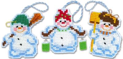 click here to view larger image of Christmas Tree Decoration Snowmen (counted cross stitch kit)