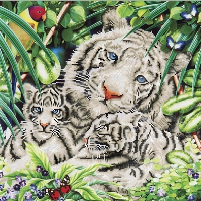 click here to view larger image of White Tiger and Cubs (Diamond Embroidery)