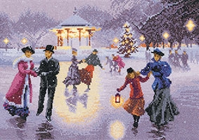 click here to view larger image of Christmas Skaters (Evenweave) (counted cross stitch kit)