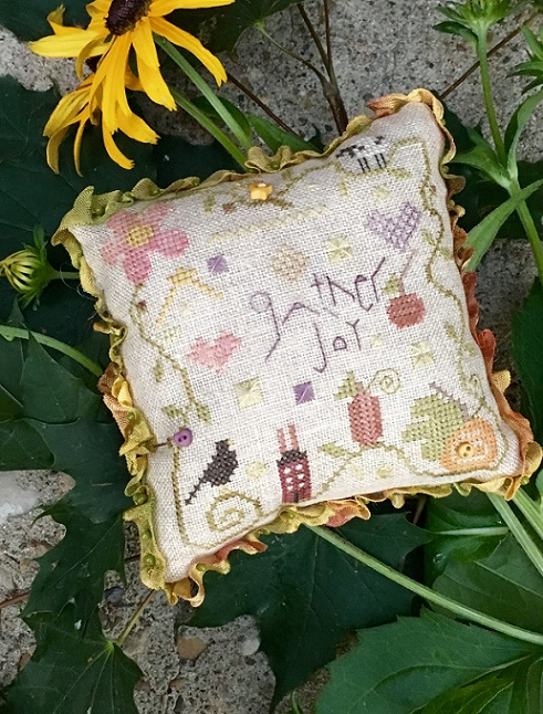 click here to view larger image of Gather Joy Pincushion - Kit (counted cross stitch kit)