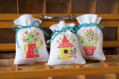 click here to view larger image of Spring Bags (Set of 3) (counted cross stitch kit)