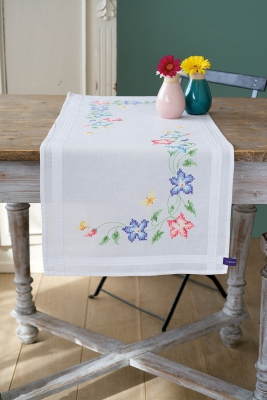 click here to view larger image of Pink and Blue Flowers - Table Runner (stamped cross stitch kit)