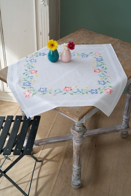 click here to view larger image of Pink and Blue Flowers - Table Cloth (stamped cross stitch kit)