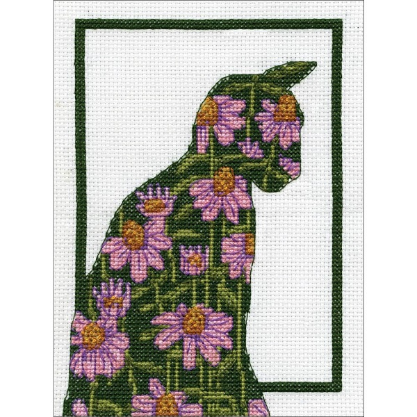 click here to view larger image of Floral Cat (counted cross stitch kit)