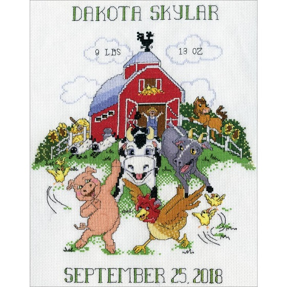 click here to view larger image of Barnyard Sampler Birth Record (counted cross stitch kit)