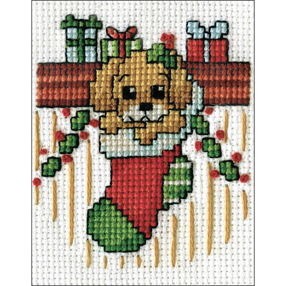 click here to view larger image of Puppy In Stocking (counted cross stitch kit)