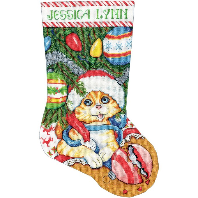 click here to view larger image of Kitten Stocking (counted cross stitch kit)