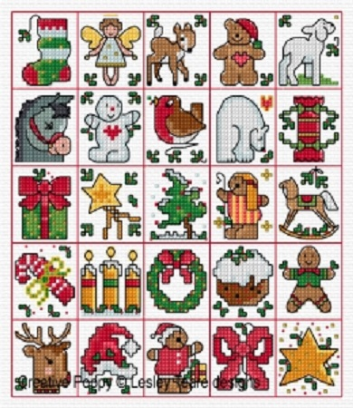 click here to view larger image of 25 Christmas Tag Motifs (chart)