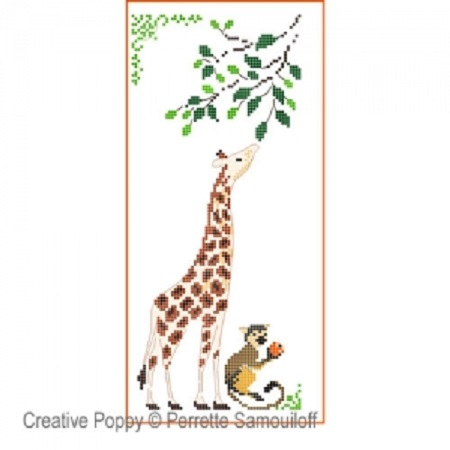 click here to view larger image of Giraffe & Baby Monkey (chart)