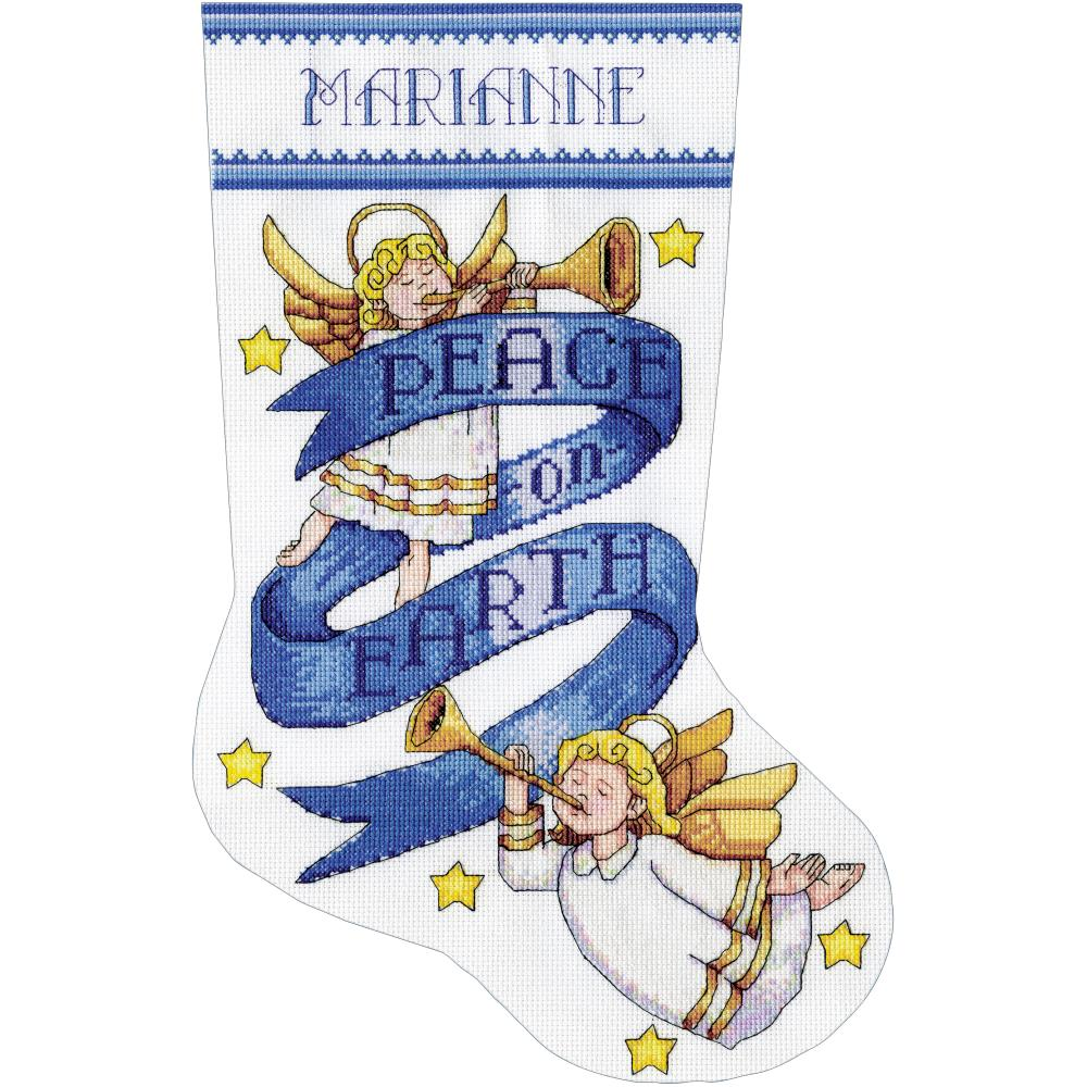 click here to view larger image of Peace On Earth Stocking (counted cross stitch kit)