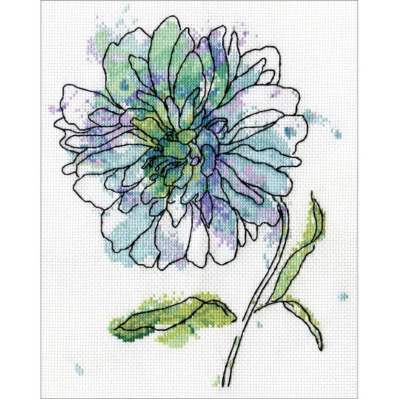 click here to view larger image of Blue Floral (counted cross stitch kit)