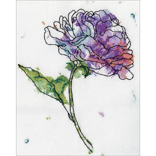 click here to view larger image of Lilac Floral (counted cross stitch kit)