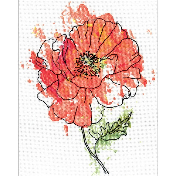 click here to view larger image of Peach Floral (counted cross stitch kit)