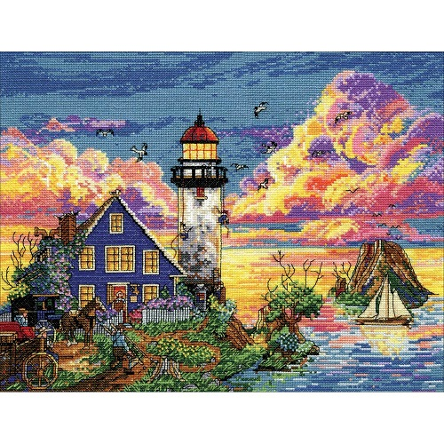 click here to view larger image of Lighthouse Sunset (counted cross stitch kit)
