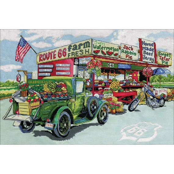 click here to view larger image of Route 66 Farmstand (counted cross stitch kit)