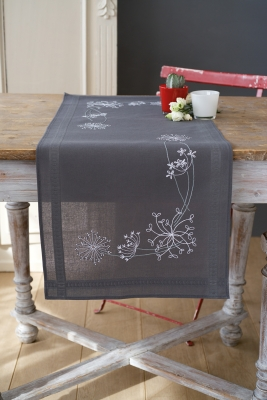 click here to view larger image of White Flower Table Runner (counted cross stitch kit)