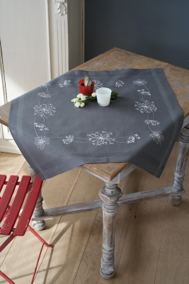 click here to view larger image of White Flower Table Cloth (stamped cross stitch kit)