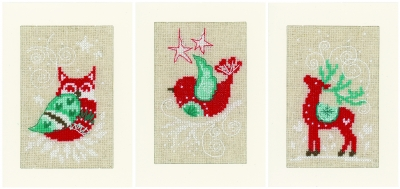 click here to view larger image of Winter Scenes Greeting Cards (Set of 3) (counted cross stitch kit)