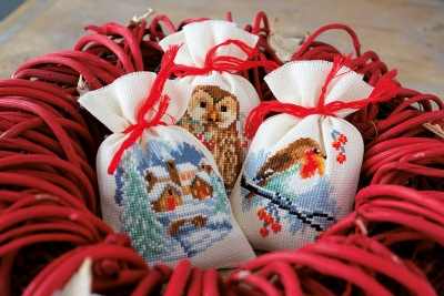 click here to view larger image of Winter Bags (Set of 3) (counted cross stitch kit)