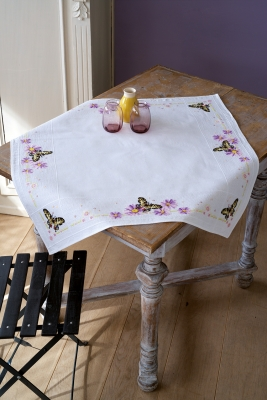 click here to view larger image of Butterflies Tablecloth (counted cross stitch kit)
