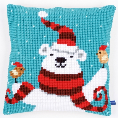click here to view larger image of Happy Christmas Cushion (needlepoint)