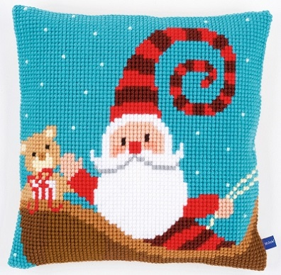 click here to view larger image of Happy Santa Cushion (needlepoint)