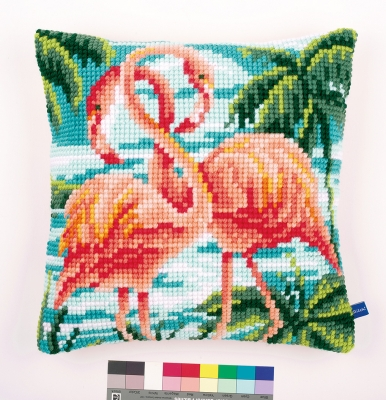 click here to view larger image of Flamingo Cushion (needlepoint)