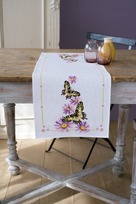 click here to view larger image of Butterflies Table Runner (counted cross stitch kit)