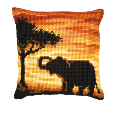 click here to view larger image of Elephant Cushion (needlepoint)