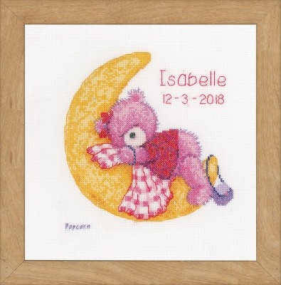 click here to view larger image of Brie Bear On The Moon - Birth Announcement (counted cross stitch kit)