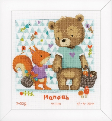 click here to view larger image of Bear and Squirrel - Birth Announcement (counted cross stitch kit)