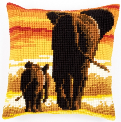 click here to view larger image of Elephants Cushion (needlepoint)