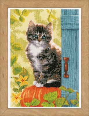 click here to view larger image of Cat And Pumpkin (counted cross stitch kit)