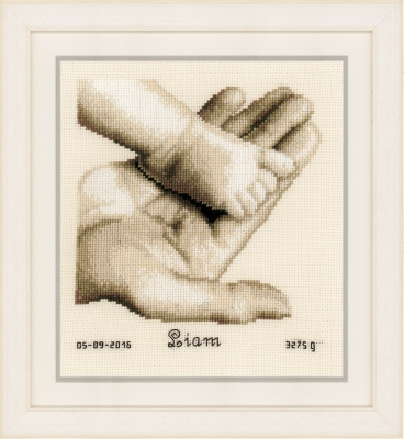 click here to view larger image of Baby Boot On Hand - Birth Announcement (counted cross stitch kit)
