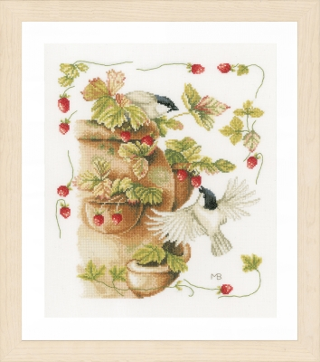 click here to view larger image of  Strawberries & Birds by Marjolein Bastin (counted cross stitch kit)