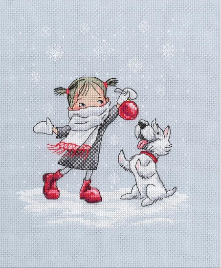 click here to view larger image of Dancing with Snowflakes (counted cross stitch kit)