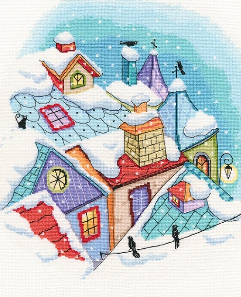 click here to view larger image of Winter on the Roof (counted cross stitch kit)
