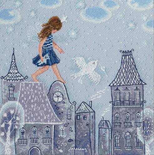 click here to view larger image of Fairy Tales Live on Roofs (counted cross stitch kit)
