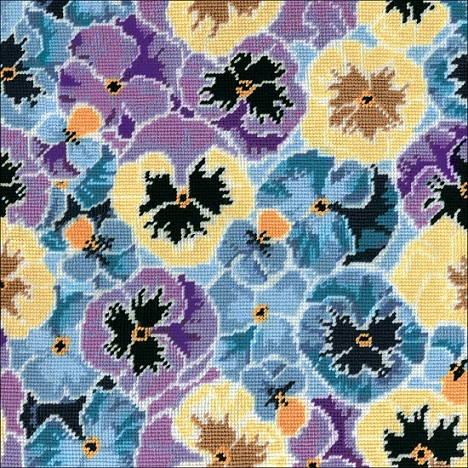 click here to view larger image of Pansies Needlepoint Kit (needlepoint)