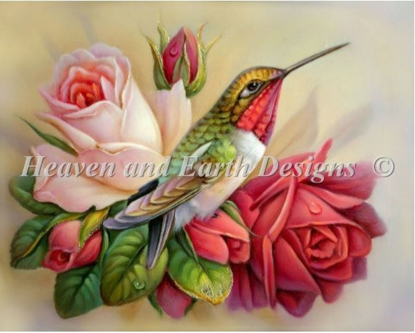 click here to view larger image of Hummingbird In Roses (chart)