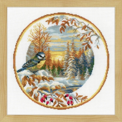click here to view larger image of Plate With Great Tit (counted cross stitch kit)