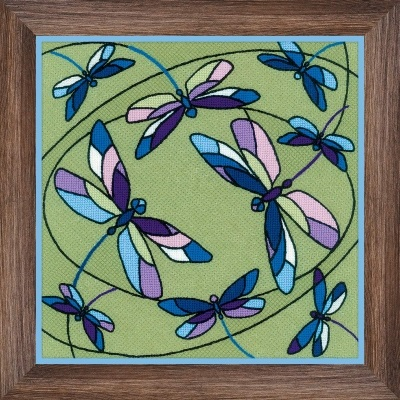 click here to view larger image of Dragonflies Cushion/Panel Stained Glass Window (stamped cross stitch kit)