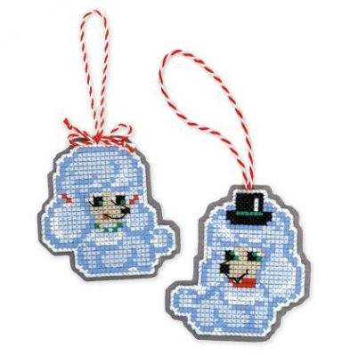 click here to view larger image of Christmas Tree Ornaments (Dogs) Set of 2 (counted cross stitch kit)