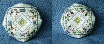 click here to view larger image of Id Rather Bee Stitching Biscornu Pincushion (Includes Embellishments) (chart)