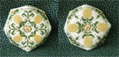 click here to view larger image of Pretty Pineapples Biscornu Pincushion (Includes Embellishments) (chart)