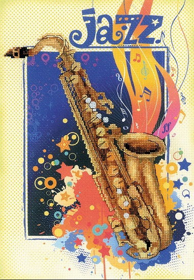 click here to view larger image of Jazz Stamped Cross Stitch Kit (stamped cross stitch kit)