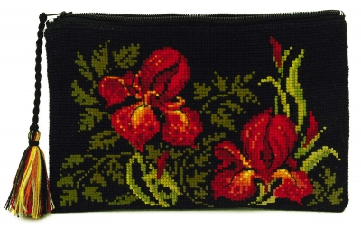 click here to view larger image of Cosmetic Bag - Irises (counted cross stitch kit)